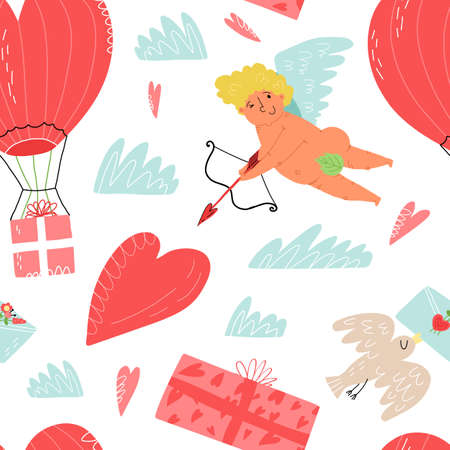 Valentines Day seamless pattern. Cupid with slings and arrows, hearts, bird with love mail, gift, air-ballon delivery