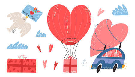 Valentines Day set. Gift box with a bow, bird with love letter, clouds, car with heart at the top, air-ballon delivery. 일러스트