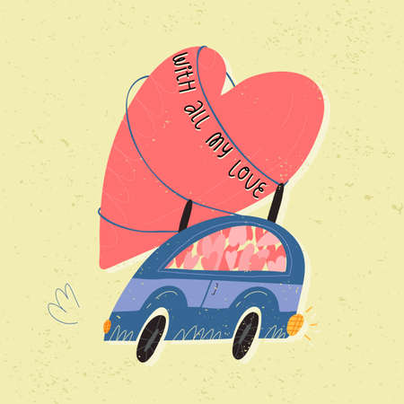 A retro car full of the hearts with huge one on at the top. With all my love lettering. Valentines Day retro style card 일러스트