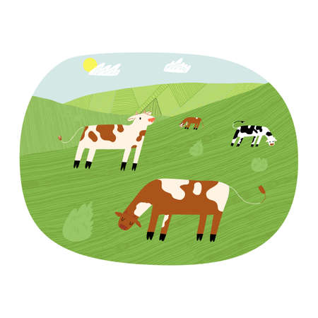 Funny cute pasture with cows on a field in a sunny day. Vector hand-drawn style isolated label illustration.