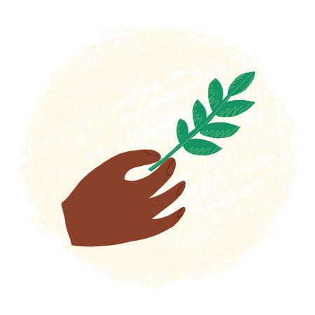 Hand-drawn organic symbol, clean, healthy eating icon. A persons hand holds a green plant branch, leaf.