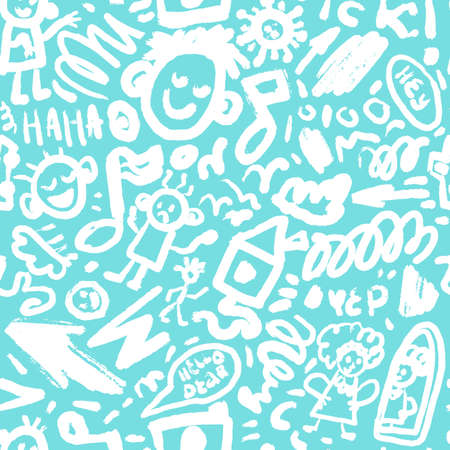 Cute brushstroke or pencils drawing vector illustration.Doodle and lettering seamless pattern with funny faces and signs Ilustração