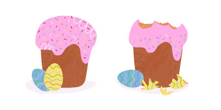 Easter cake before and after. On the left decorated pastry and eggs, on the right with eaten icing top and the egg shell