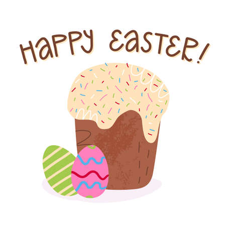 Cute lettering greeting design with Bright Easter text on Russian.Easter cake with icing, sprinkles and a decorated eggs