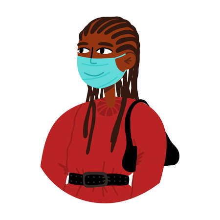 Stylish young woman in sweatshirt with baguette bag with braids hairstyle in medical face mask.