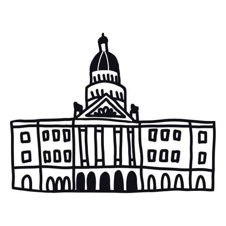 California State Sacramento or Texas Austin Capitol building. Doodle style illustration.