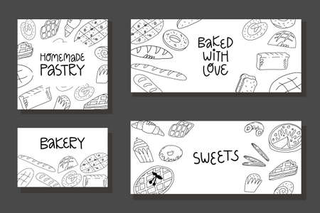 Doodle bakery banner, flyer, calling card template. Various American, Belgian, Italian traditional bakery and pastry.
