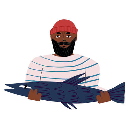 Bearded seaman in striped vest shows a take, a huge fish. World fisheries day card design.