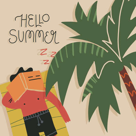 Cute summer card, banner design. Young man fell asleep while reading a book on the beach under the palm and had sun burn Ilustracje wektorowe