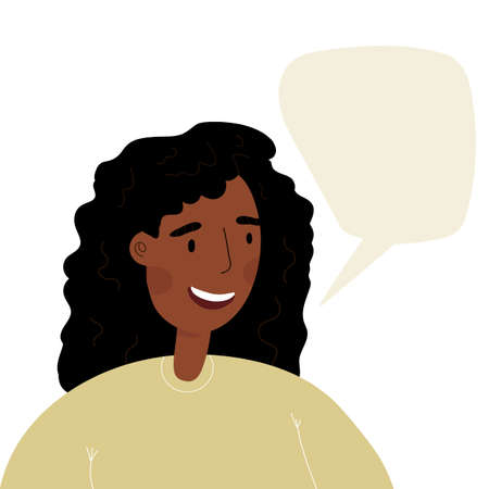 Young woman, teenager monologuing with smile. Happy African girl speaking.. Flat style character with speech bubble. Vettoriali