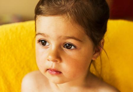 joyless: Portrait of cute sad little girl thinking