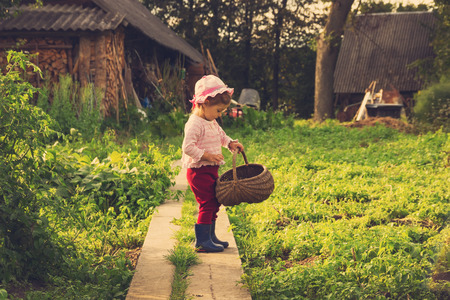 vintage portrait of Cute kid with big basket having fun at countryside photo