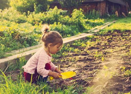 Симпатичная маленькая девочка с удовольствием в сельской местности. тонированный