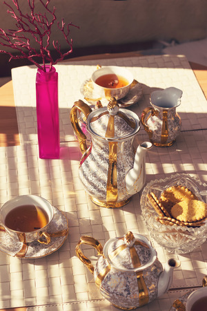 Tea time in sunny day