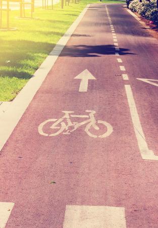 urban area: Toned Bicycle road in an urban area