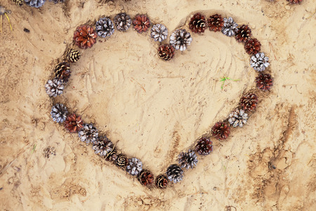 Heart laid of cones on warm sand