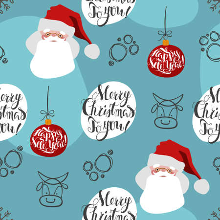 Endless Christmas-themed seamless pattern with lettering and Christmas characters. Vector illustration in a cute cozy cartoon style for print and digital use.