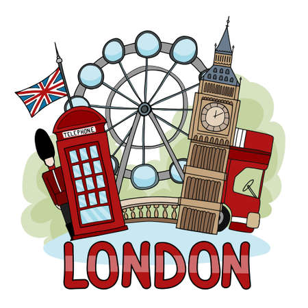 Vector illustration about London depicting London landmarks: telephone box, British flag, London Eye, London famous bus. Image in cartoon hand-drawn style for print and digital use.