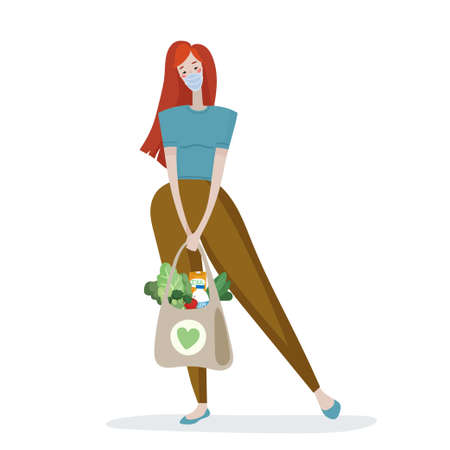 Isolated vector illustration of a character woman in a protective medical mask holds packages with food in her hand. Image for print and digital use in cartoon style. 矢量图像