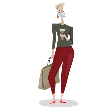 Isolated vector illustration woman with purchases, packages with food, light pleasant mood. Simple flat trendy style for banners, wallpapers, screensavers, social media, magazines.