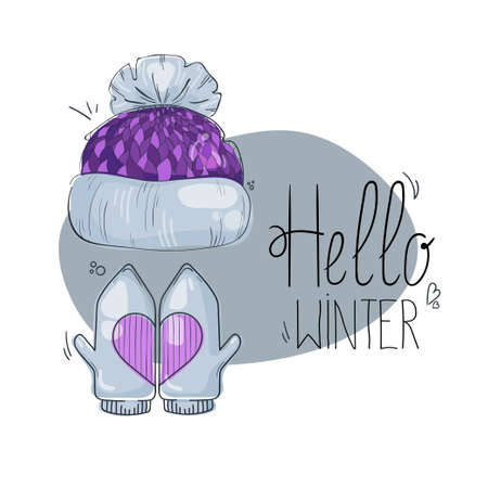 Separate bright cartoon warm hat with mittens. Winter headwear, beanie accessory. Childrens vector illustration in cute flat style with outline for print and digital use. Illusztráció