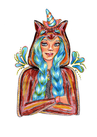 Cute girl with blue hairs in unicorn costume Stock fotó