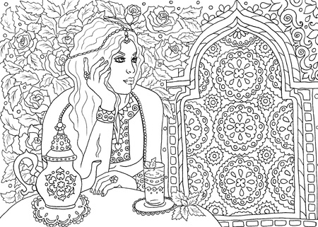 Beautiful woman in Morocco drinking tea in the garden coloring book page