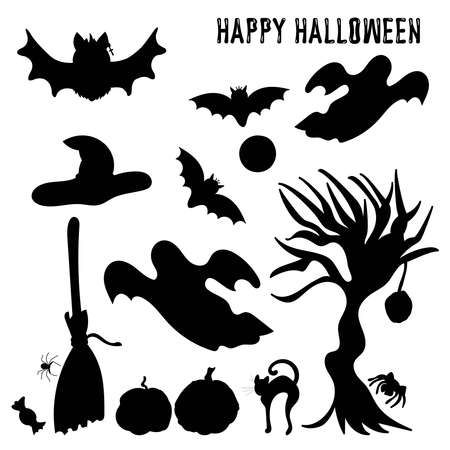 Halloween bat silhouette isolated on white background, vector