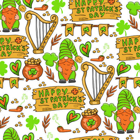 St Patricks Day seamless pattern with gnomes, coins and letters, vector Ilustracja