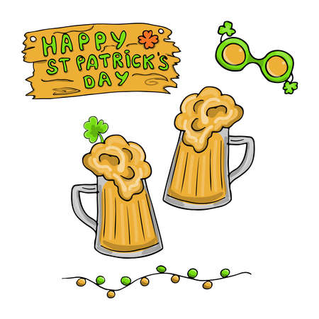 St Patricks Day celebration card, clip art set, isolated on white background, vector
