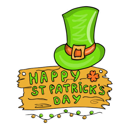 Happy St Patricks Day celebration card with hat, isolated on white background, vector