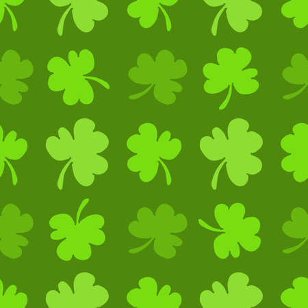 St. Patricks day flat seamless pattern background with clover leaves, gift wrapping paper design, vector