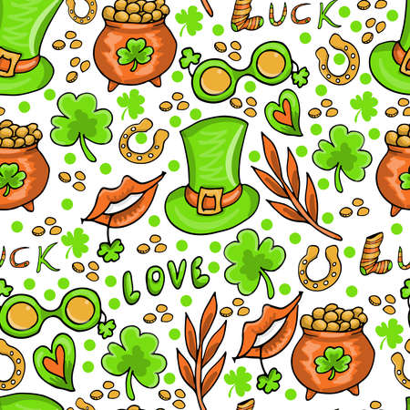 St. Patricks day seamless pattern background with clover leaves, gift wrapping paper design, vector