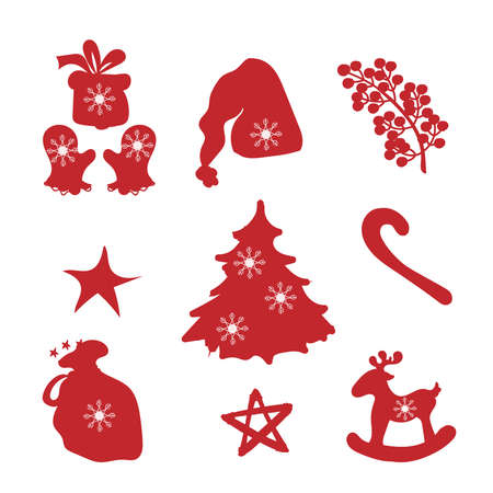 Merry Christmas red silhouette clipart set with gloves, christmas tree, gifts.