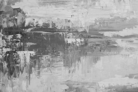 abstract grunge: Black and white hand drawn oil texture. Brushstrokes on canvas