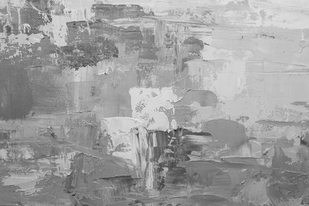crumbling: Black and white hand drawn oil texture. Brushstrokes on canvas