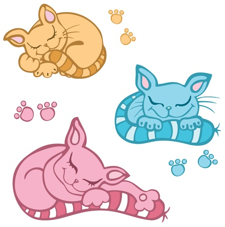 Vector sleeping kittens isolated on white background Vector