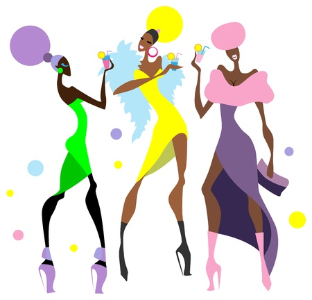 Girls at the cocktail party. Vector illustration.