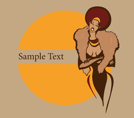 black hair: Vector illustration with sample text