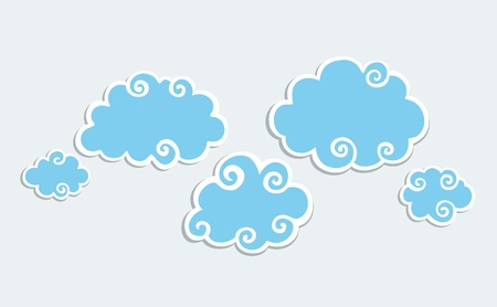 Blue Clouds with White Border. Vector
