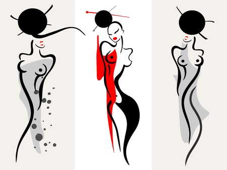 asian: Beautiful women silhouette Illustration