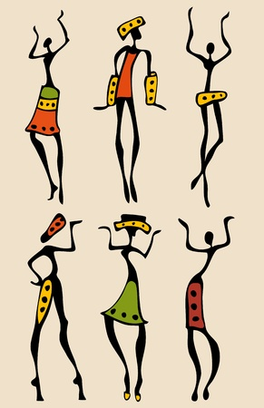 indigenous culture: African silhouette set.