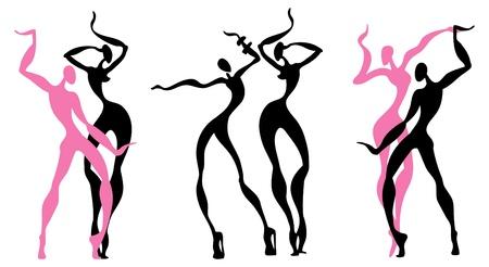 Abstract dancing figures Stock Vector - 12284335