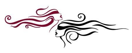 Deux femmes. Tatouage. Vecteurs