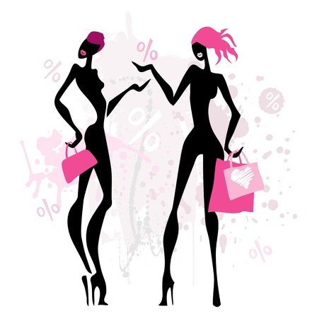 Fashion shopping women.  Vector