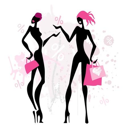 fashion shopping: Las mujeres de moda de compras. Vectores
