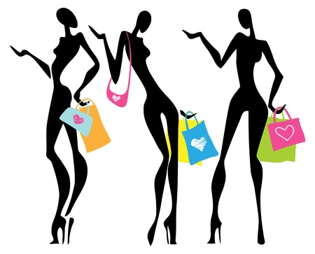 compras compulsivas: Ilustración de una mujer con bolsas de compras