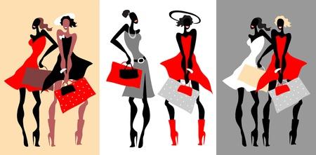Belles femmes Mode Rétro réglé.