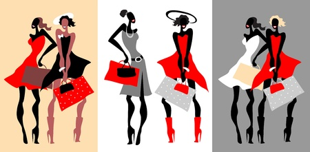 happy shopper: Beautiful Retro Fashion women set. Illustration