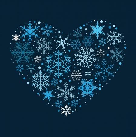 estrellas de navidad: Corazón de los copos de nieve. Vectores